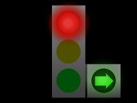 Plné světlo svítí červeně, vedle je svítící zelená šipka.
