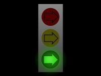 Semafor složený jen ze šipek, svítící zelená.